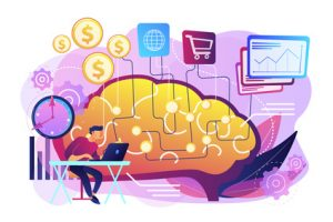 illustration of a man working at a laptop thinking about money, time, and other concerns