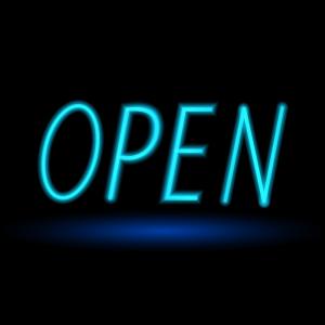 """""""OPEN"""" written in neon blue"""
