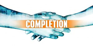 """illustration of a handshake with the word """"COMPLETION"""" superimposed"""