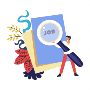 "illustration of a man holding a giant magnifying glass over the word ""JOB"" on a card with flowers behind it"