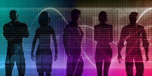 Recruitment illustration - 5 silhouettes in cyberspace